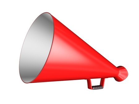 Red Megaphone - isolated on white background photo