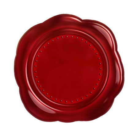 waxseal: Red seal wax - isolated on white background Stock Photo