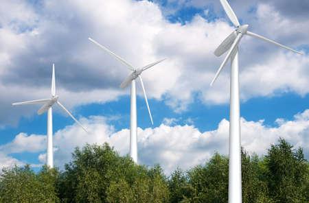 Wind turbine on blue sky. Eco energy Stock Photo