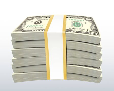 Stack of dollar bills - isolated with clipping path Stock Photo