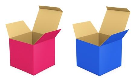 Set of opened box - isolated on white background Stock Photo - 17688363