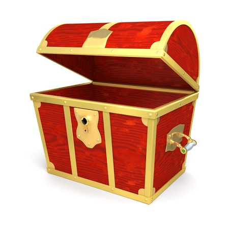 coffer: Wooden treasure chest - isolated on white background Stock Photo