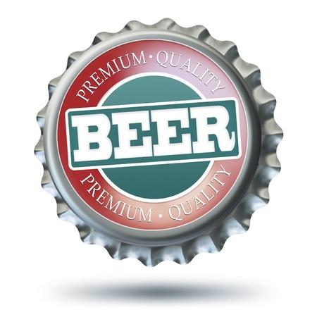 beer bottle: Illustration of bottle cap - isolated on white