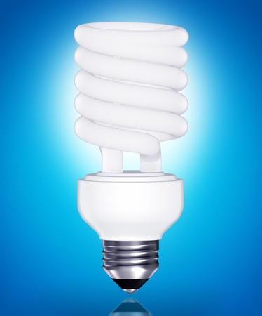 kilowatt: Energy saving light bulb on blue background
