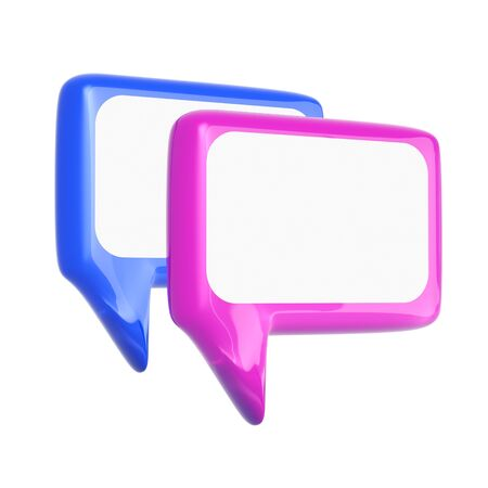 callout: Glossy speech bubble on white background Stock Photo