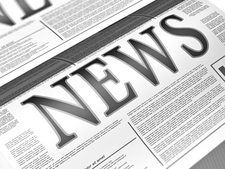 newsletters: Illustration of a newspaper with news related text, lorem ipsum text