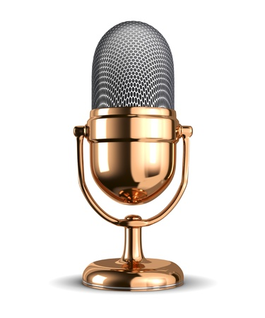 Vintage microphone - isolated on white background  photo