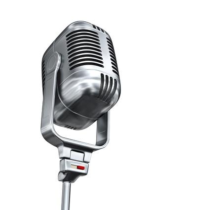 microfono de radio: Vintage micrófono - aislados en fondo blanco