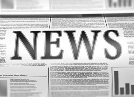 chronicle: Illustration of a newspaper with news related text, lorem ipsum text  Stock Photo