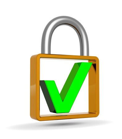 validated: Green check mark into a closed padlock, security concept