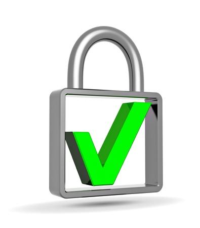 Green check mark into a closed padlock, security concept Stock Photo - 18760249