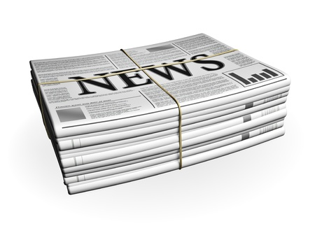 Newspaper Stack isolated on white Stock Photo - 18978016