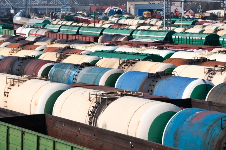 Railway tanks for mineral oil and other cargoes at shunting yard  photo