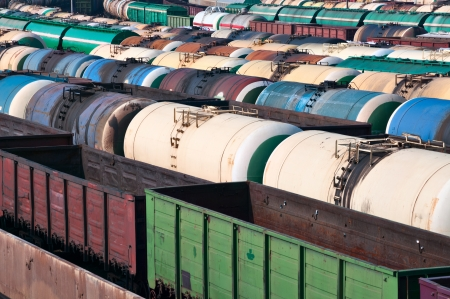boxcar train: Railway tanks for mineral oil and other cargoes at shunting yard