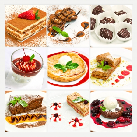 cherry pie: Collage with different sweet dessert