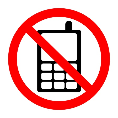sign not to talk by phone: No mobile phone sign  Stock Photo