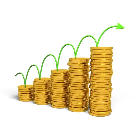 inflation: Graph rising with coins bars, 3d illustration Stock Photo