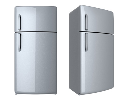 frig: Modern refrigerator - isolated on white background Stock Photo