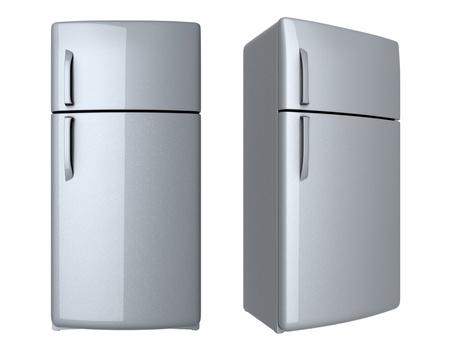 fridge: Modern refrigerator - isolated on white background Stock Photo