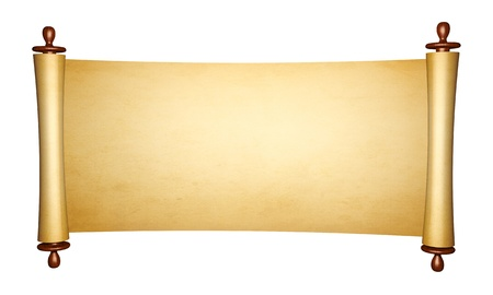 Vintage roll of parchment, isolated on white background photo
