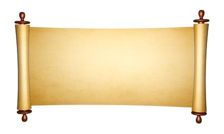 pergamino: Vintage rollo de pergamino, aisladas sobre fondo blanco Foto de archivo