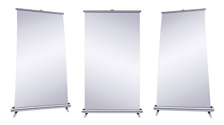 Blank roll-up banner display on white background  photo