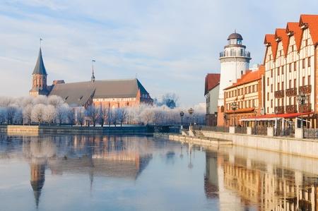 Fishing Village and Kant s Cathedral  Kaliningrad  Russia Banco de Imagens - 20486439