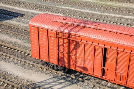 boxcar train: Freight car in shunting yard
