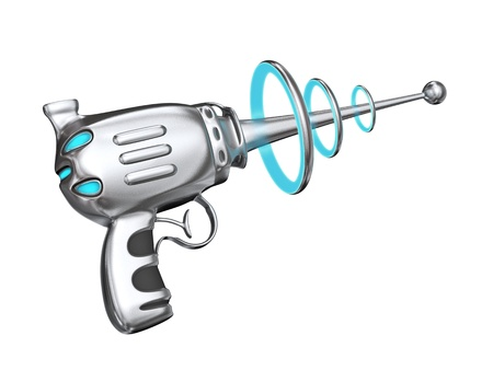 laser beam: Science fiction gun - isolated on white Stock Photo