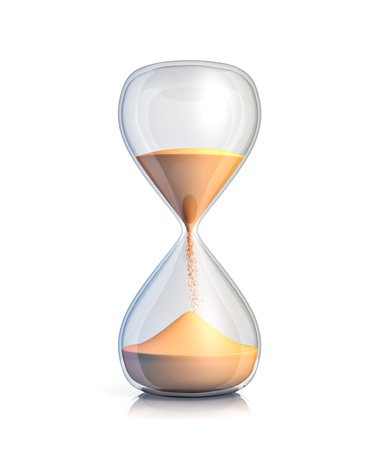 Sand clock - isolated on white background