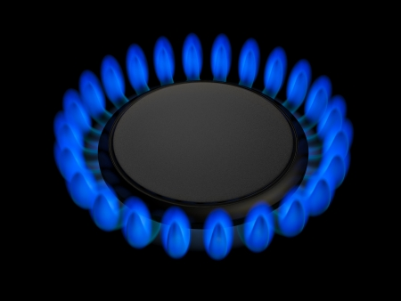 out of gas: Gas burners in the kitchen oven, 3d illustration