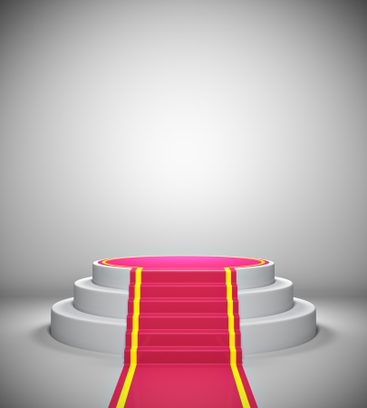 Empty illuminated podium with red carpet photo