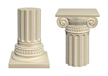 greek column: Stone column - isolated on white background, 3d render