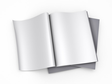 pile of newspapers: Magazine blank page template - isolated on white background Stock Photo