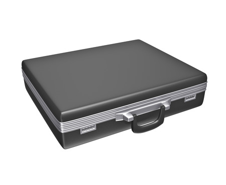 brief case: Empty black case - isolated on white background. 3d rendering