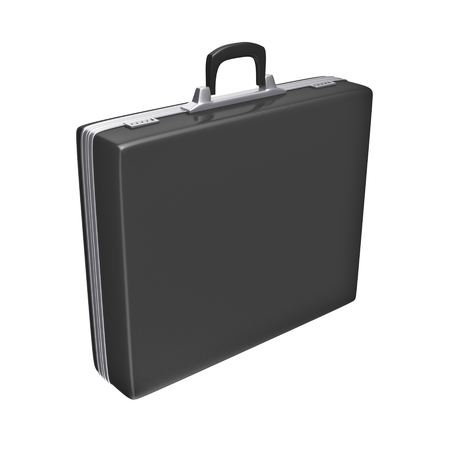 brief case: Black case - isolated on white background. 3d rendering Stock Photo