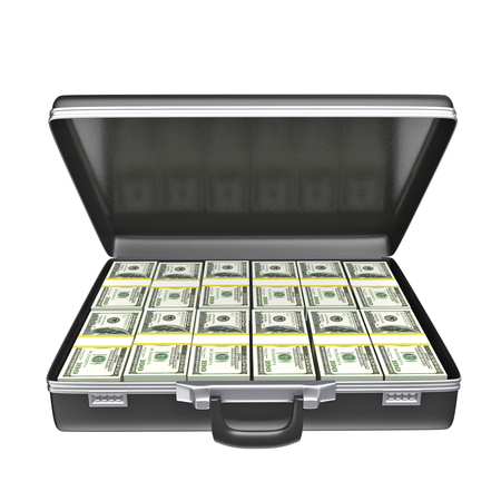 open suitcase: Black case with money - isolated on white background. 3d rendering