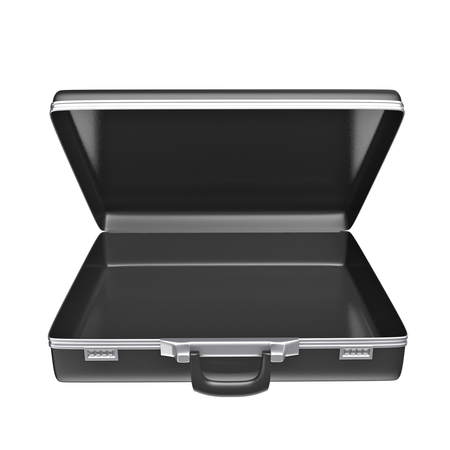 leather briefcase: Empty black case - isolated on white background. 3d rendering