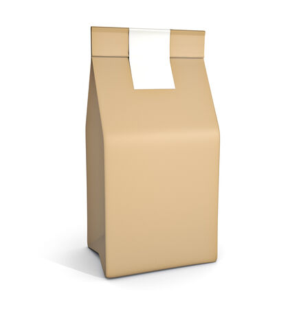 brown paper bags: Paper bag package isolated on white background Stock Photo