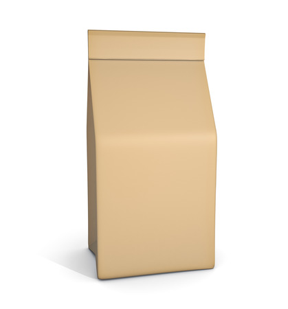 craft product: Paper bag package isolated on white background Stock Photo