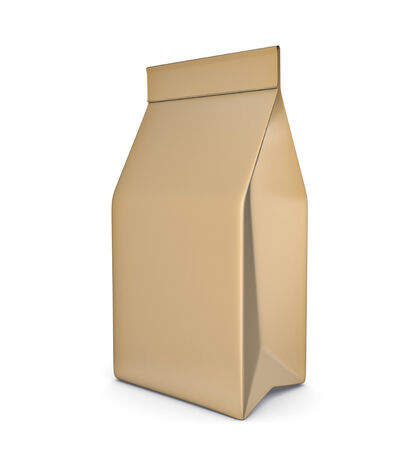 Paper bag package isolated on white background photo