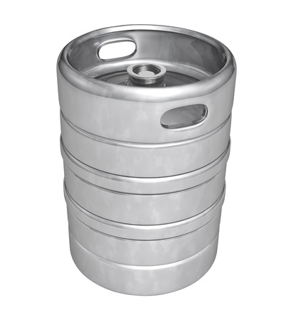 steel drum: Beer keg - isolated over white background
