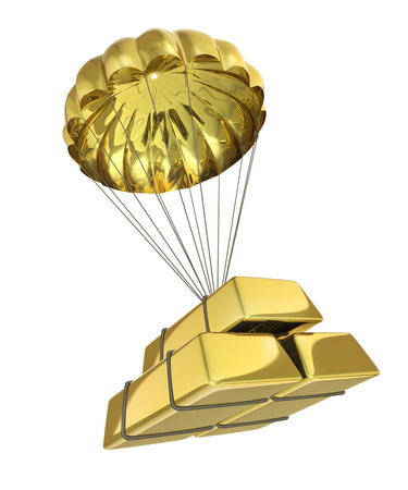 Golden Parachute isolated on white background photo