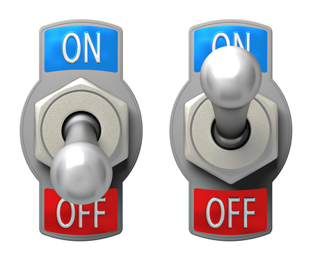 energy buttons: Toggle Switch set on white background Stock Photo