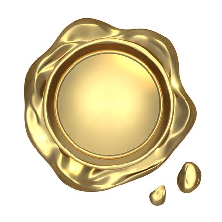 Goldenen Siegel Wachs - isoliert auf weißem Hintergrund Standard-Bild - 24920906