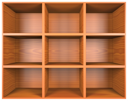empty warehouse: Wooden shelves with empty racks isolated on white background Stock Photo