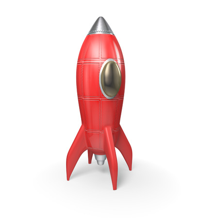 Cohete rojo - 3D, aislado en fondo blanco