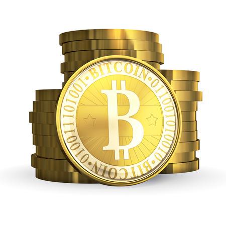 Golden Bitcoin - 3d illustration, isolated on white background