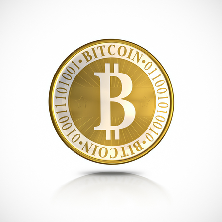 bit: Golden Bitcoin - 3d illustration, isolated on white background