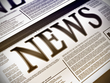 news media: Illustration of a newspaper with news related text, lorem ipsum text
